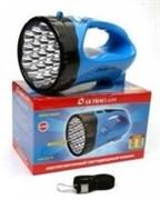 Фонарь-прожектор Ultraflast 12889 LED 3818SM, аккумуляторный 4В 1.3Ah, 1 светодиод 3Вт, 12 светодиодов, 140Лм, 2 режима, синий