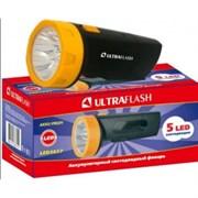 Фонарь ручной Ultraflast 11241 LED 3827, аккумуляторный 4В 0.7Ah, 18Лм, 5 светодиодов, встроенная вилка, 220В, черный