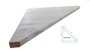 Ступень лестницы треугольная хвойных пород сосна 900x900x40мм, 45 градусов