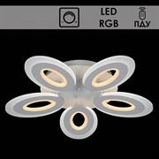 Люстра подвесная LED-встроенная 55074/5, RGB, диаметр 560мм, 2x75W, LED BP, ПДУ, диммер, WT белый, SDA19