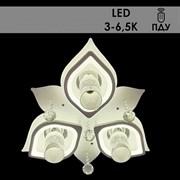 Люстра подвесная LED-встроенная 55036/3+3, диаметр 580мм, 3х40W Е14+36W LED (3000K+6500K), ПДУ, белый, SDA20