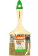 Кисть плоская Зубр Лазурь-Мастер 4-01009-100, смешанная щетина, 100мм, деревянная ручка