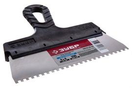 Шпатель зубчатый СИБИН 10078-20-04, 200мм, фасадный, зубья 4x4мм, полотно нержавеющая сталь, пластиковая ручка