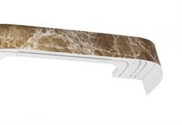 Карниз Мармарос, 3-рядный, 2.4м, багетный для штор, с поворотами, Оникс темный, бленда 7см