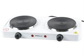 Плитка электрическая двухконфорочная ERGOLUX ELX-EP04-C01 83891, 2кВт, диск, белая