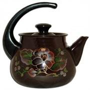 Чайник 42704-122, 3л, эмалированный, сферический, с рисунком, коричневый