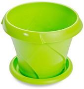 Кашпо Флориана,  0.7л, диаметр 135мм, с поддоном, пластиковое, салатовое
