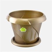 Кашпо Флориана, 2.8л, диаметр 215мм, с поддоном, пластиковое, золотое