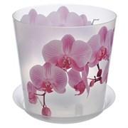 Кашпо IDEA Деко Орхидея, 2.4л, диаметр 160мм, с поддоном, пластиковое