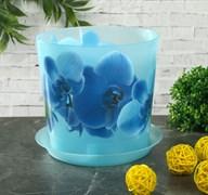 Кашпо IDEA Деко Орхидея голубая, 2.4л, диаметр 160мм, с поддоном, пластиковое