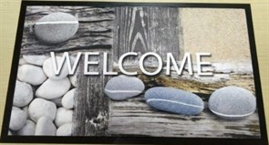 Коврик придверный Принт Добро пожаловать (море), 45х75см, резиновый с ПВХ