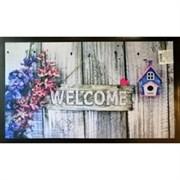 Коврик придверный Принт Добро пожаловать (цветы), 45х75см, резиновый с ПВХ
