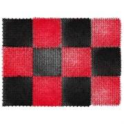 Коврик-травка входной грязезащитный 420x560мм, пластиковый, черно-красный