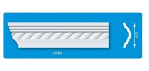 Плинтус потолочный экструзионный Лагом Формат 206, длина 2м, белый