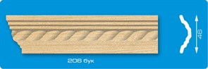Плинтус потолочный экструзионный Лагом Формат 206, длина 2м, бук