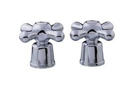 Комплект маховиков для смесителя TERMA №20226 Люкс, крест, под кран-буксу с 24 шлицами, диаметр штока 8мм, в комплекте пара, пластиковый