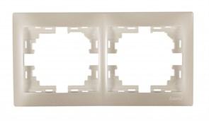 Рамка двухместная Мира 701-3000-147, горизонтальная, жемчужно-белый перламутр