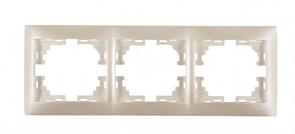 Рамка трехместная Мира 701-3000-148, горизонтальная, жемчужно-белый перламутр