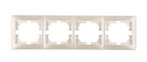 Рамка четырехместная Мира 701-3000-149, горизонтальная, жемчужно-белый перламутр