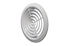 Решетка вентиляционная EVENT ПКС145, диаметр 145мм, круглая, без фланца, пластиковая, белая, наклонные жалюзи