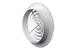 Решетка вентиляционная EVENT ПКС195/150, с фланцем, диаметр фланца 195мм, диаметр выходного отверстия 150мм, круглая, пластиковая, белая, наклонные жалюзи