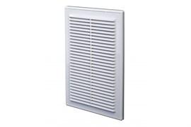 Решетка вентиляционная EVENT Э1818Р, разъемная, 180х180мм, с москитной сеткой, пластиковая, белая, наклонные жалюзи