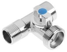 Кран шаровый 3-проходный для стиральной машины TIM BL5837, 1/2дюйма (наружная)х3/4дюйма (наружная)х1/2дюйма (внутренняя)