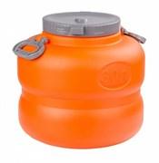 Бочка-канистра М6226 Байкал, 30л, с навесными ручками, пищевой пластик, оранжево-серая