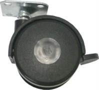 Опора/колесо для мебели Кунгур, 50x65мм, с площадкой и фиксатором, пластиковая, черная